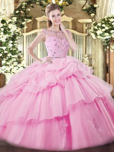 Elegant Rose Pink Sleeveless Beading and Ruffles and Pick Ups Floor Length Ball Gown Prom Dress
