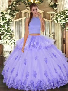 Colorful Halter Top Sleeveless Backless Sweet 16 Quinceanera Dress Lavender Tulle