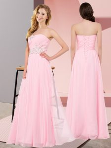 Baby Pink Sleeveless Floor Length Appliques Lace Up Homecoming Dress