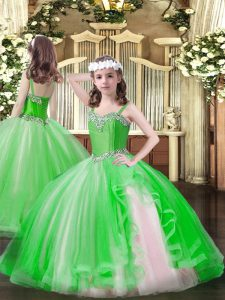 Straps Lace Up Beading Pageant Dress Sleeveless