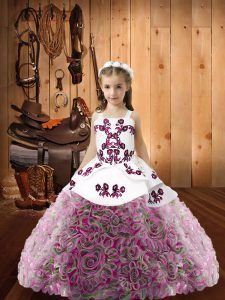 Attractive Embroidery Pageant Dresses Multi-color Lace Up Sleeveless Floor Length