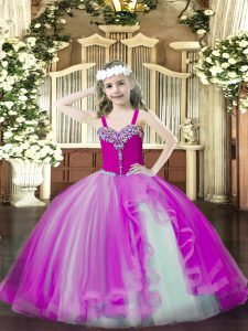 On Sale Fuchsia Ball Gowns Tulle Straps Sleeveless Beading Floor Length Lace Up Girls Pageant Dresses
