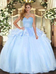 Sweetheart Sleeveless Lace Up 15th Birthday Dress Light Blue Organza