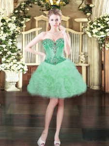 Apple Green Sweetheart Neckline Beading and Ruffles and Pick Ups Prom Dress Sleeveless Lace Up