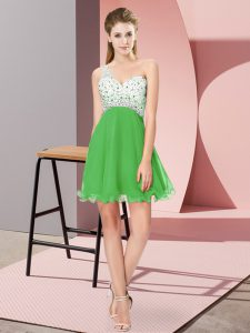 Inexpensive Sleeveless Mini Length Beading Criss Cross Evening Dress with Green