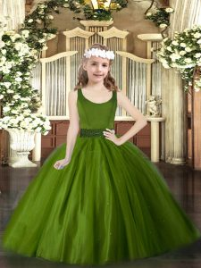 Scoop Sleeveless Zipper Little Girl Pageant Dress Olive Green Tulle