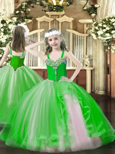 Great Beading Child Pageant Dress Green Lace Up Sleeveless Floor Length