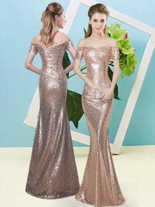 Romantic Gold Short Sleeves Sequins Floor Length Evening Dress