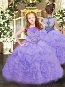 Admirable Organza Scoop Sleeveless Zipper Beading and Ruffles and Pick Ups Pageant Dress Womens in Lavender