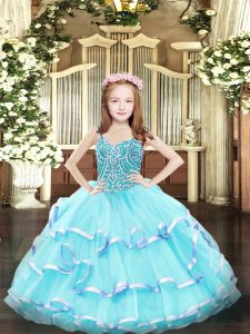 Aqua Blue Organza Lace Up Girls Pageant Dresses Sleeveless Floor Length Beading and Ruffled Layers