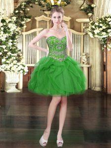 Classical Green Lace Up Beading and Ruffles Sleeveless Mini Length