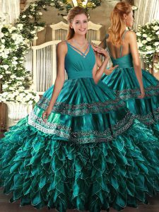 Teal Sleeveless Organza Zipper Quince Ball Gowns for Sweet 16 and Quinceanera
