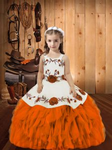 Orange Sleeveless Floor Length Embroidery and Ruffles Lace Up Pageant Dress Toddler