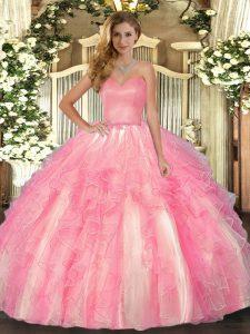 Fancy Floor Length Rose Pink Sweet 16 Quinceanera Dress Organza Sleeveless Ruffles