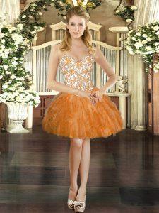 Modern Mini Length Orange Red Prom Dress Straps Sleeveless Lace Up