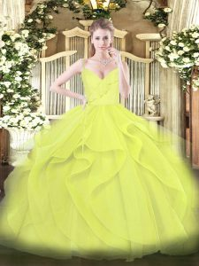 Captivating Yellow Green and Yellow Quinceanera Gown Military Ball and Sweet 16 and Quinceanera with Ruffles and Ruching