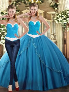Flare Floor Length Lace Up Sweet 16 Quinceanera Dress Teal for Military Ball and Sweet 16 and Quinceanera with Beading