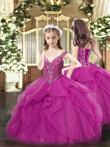 Fuchsia Tulle Lace Up Child Pageant Dress Sleeveless Floor Length Beading and Ruffles