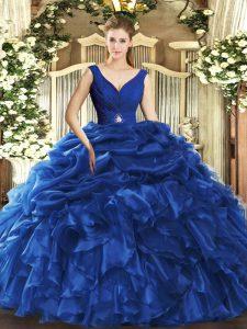 Romantic Ball Gowns Vestidos de Quinceanera Blue V-neck Organza Sleeveless Floor Length Backless