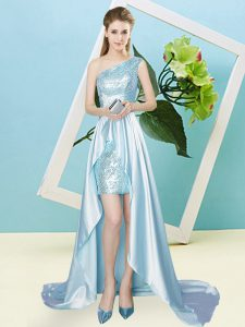 Vintage Empire Prom Dress Light Blue One Shoulder Elastic Woven Satin and Sequined Sleeveless High Low Lace Up