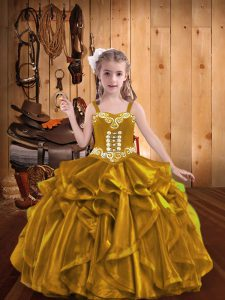 Beauteous Gold Sleeveless Embroidery and Ruffles Floor Length Kids Formal Wear