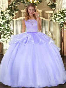 Lavender Clasp Handle Scoop Lace Quinceanera Gowns Organza Sleeveless