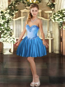 Mini Length Lace Up Prom Party Dress Baby Blue for Prom and Party with Beading