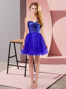 Comfortable Tulle Sleeveless Mini Length Dress for Prom and Sequins