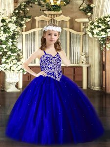 Stunning V-neck Sleeveless Lace Up Winning Pageant Gowns Royal Blue Tulle