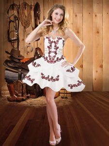 Edgy Mini Length White Dress for Prom Satin Sleeveless Embroidery
