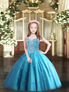 Sleeveless Floor Length Beading Lace Up Girls Pageant Dresses with Baby Blue