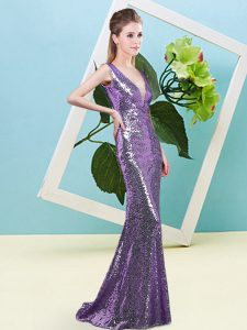 Shining Eggplant Purple Mermaid Sequined V-neck Sleeveless Sequins Floor Length Zipper Prom Evening Gown