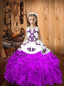 Ball Gowns Pageant Gowns For Girls Eggplant Purple Straps Organza Sleeveless Floor Length Lace Up