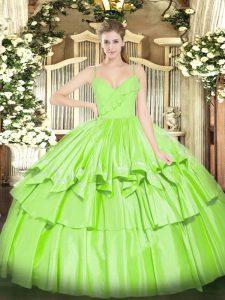 Customized Sleeveless Floor Length Ruffled Layers Zipper Quinceanera Dresses