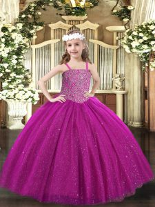 Fuchsia Sleeveless Tulle Lace Up Child Pageant Dress for Party and Quinceanera