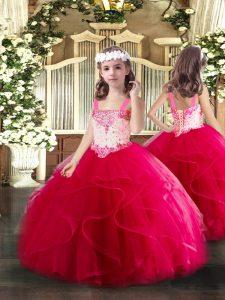 Hot Pink Sleeveless Beading and Ruffles Floor Length Little Girls Pageant Dress