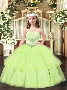 Yellow Green Organza Lace Up Child Pageant Dress Sleeveless Floor Length Beading and Ruffled Layers