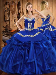Amazing Floor Length Royal Blue Vestidos de Quinceanera Satin and Organza Sleeveless Embroidery and Ruffles