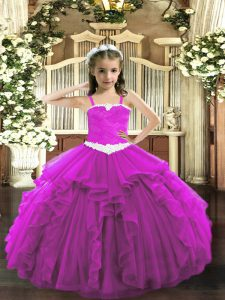 Fuchsia Tulle Lace Up Straps Sleeveless Floor Length Pageant Dress for Girls Appliques and Ruffles