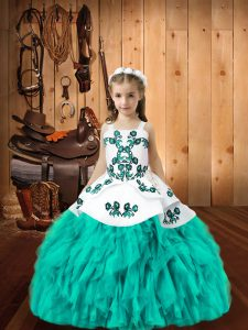 Aqua Blue Little Girl Pageant Gowns Sweet 16 and Quinceanera with Embroidery and Ruffles Straps Sleeveless Lace Up