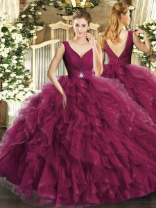 Cute Burgundy Ball Gowns Beading and Ruffles Quinceanera Gowns Backless Tulle Sleeveless Floor Length