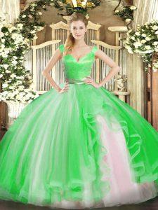 Captivating Green Zipper 15th Birthday Dress Beading and Ruffles Sleeveless Floor Length