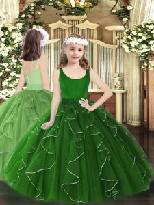 Enchanting Floor Length Zipper Winning Pageant Gowns Dark Green for Party and Quinceanera with Beading and Ruffles