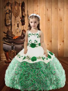 Latest Floor Length Multi-color Pageant Gowns For Girls Fabric With Rolling Flowers Sleeveless Embroidery and Ruffles