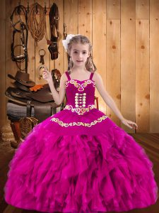 Sleeveless Organza Floor Length Lace Up Little Girls Pageant Dress in Fuchsia with Embroidery and Ruffles