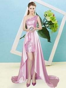 Elastic Woven Satin and Sequined One Shoulder Sleeveless Lace Up Sequins Evening Dress in Rose Pink