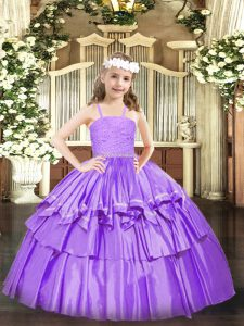 Sweet Straps Sleeveless Zipper Girls Pageant Dresses Lavender Organza