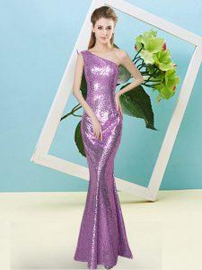 Designer Floor Length Mermaid Sleeveless Lilac Prom Dresses Zipper