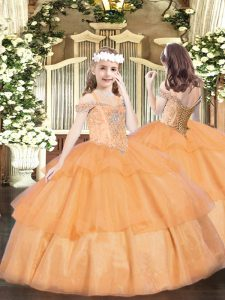 Unique Orange Off The Shoulder Neckline Beading and Ruffled Layers Kids Formal Wear Sleeveless Lace Up