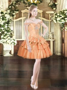 Orange Red Off The Shoulder Neckline Beading and Ruffled Layers Prom Dress Sleeveless Lace Up